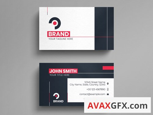 Simple Corporate Business Card Layout with Red Accents 260564162