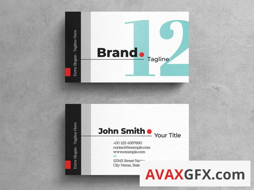 Bold Agency Business Card Template On White Background 263042503