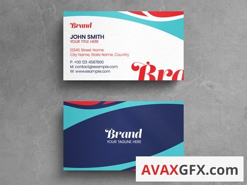 Abstract Business Card Layout with Blue and Red Elements 263042514