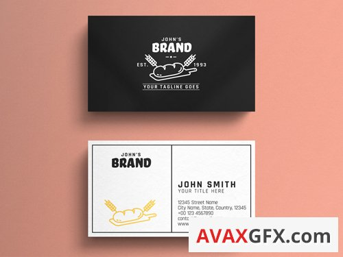 Bakery Business Card Layout with Illustrative Graphic 263042999
