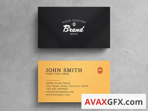 Black And Yellow Minimalist Business Card Layout 263043428