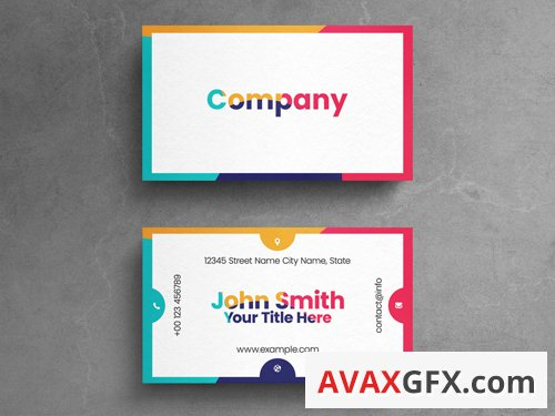 Colorful Abstract Corporate Business Card Layout 263043472