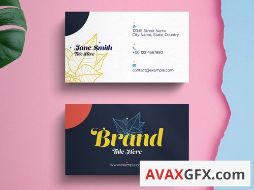 Business Card Layout with Abstract Yellow Natural Accents 263043947