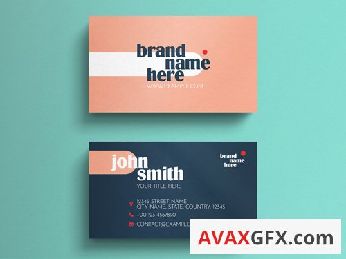 Coral and Dark Blue Business Card Layout with Typographic Accents 263045137