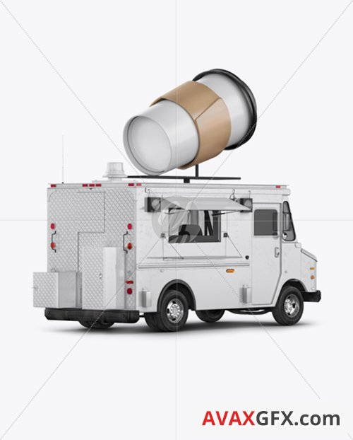 Foodtruck with Coffee Cup Mockup - Back Half Side View 36578 TIF