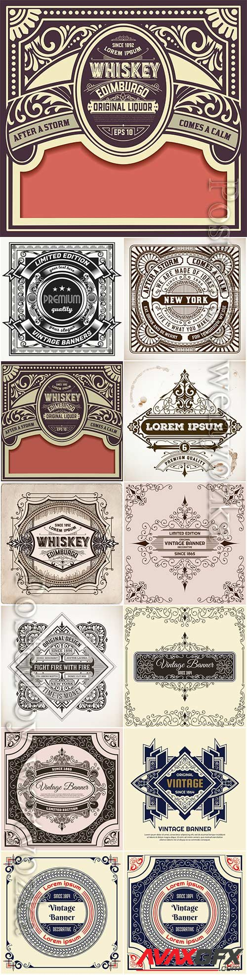 Labels in vintage style, vector elements