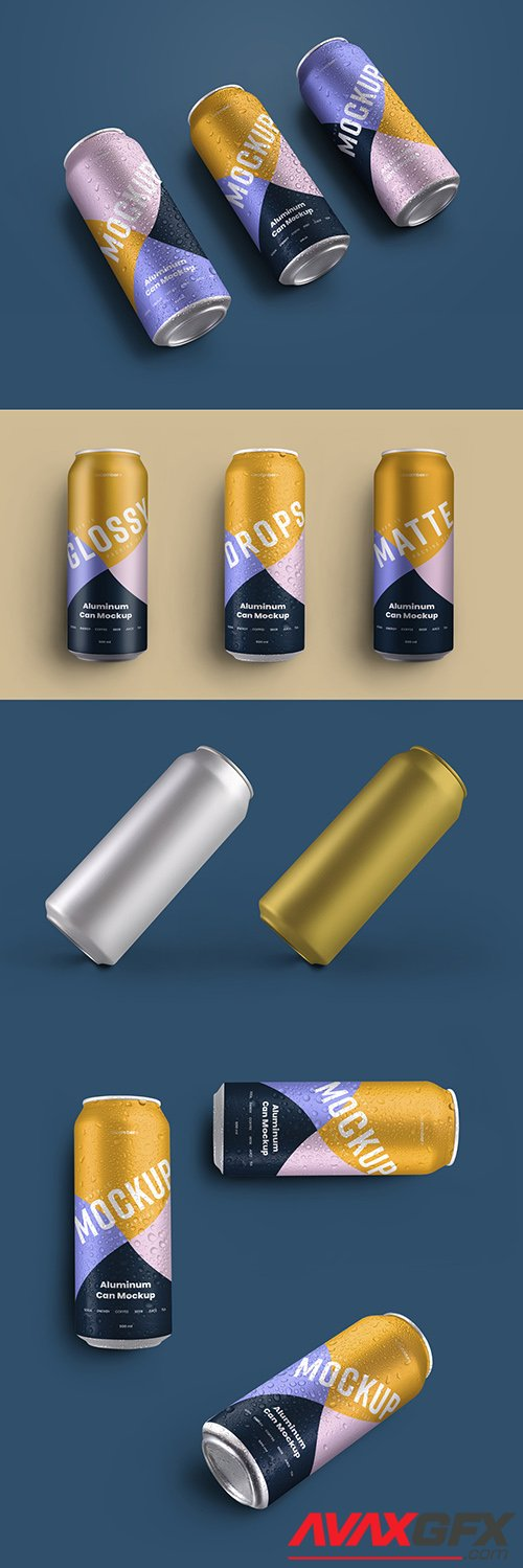 5 Aluminum Thin Can Mockups with Water Drops 341808734