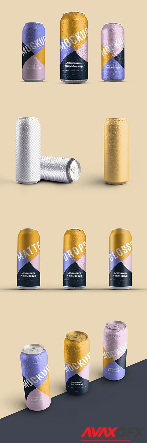 5 Aluminum Thin Can Mockups with Water Drops 341808838