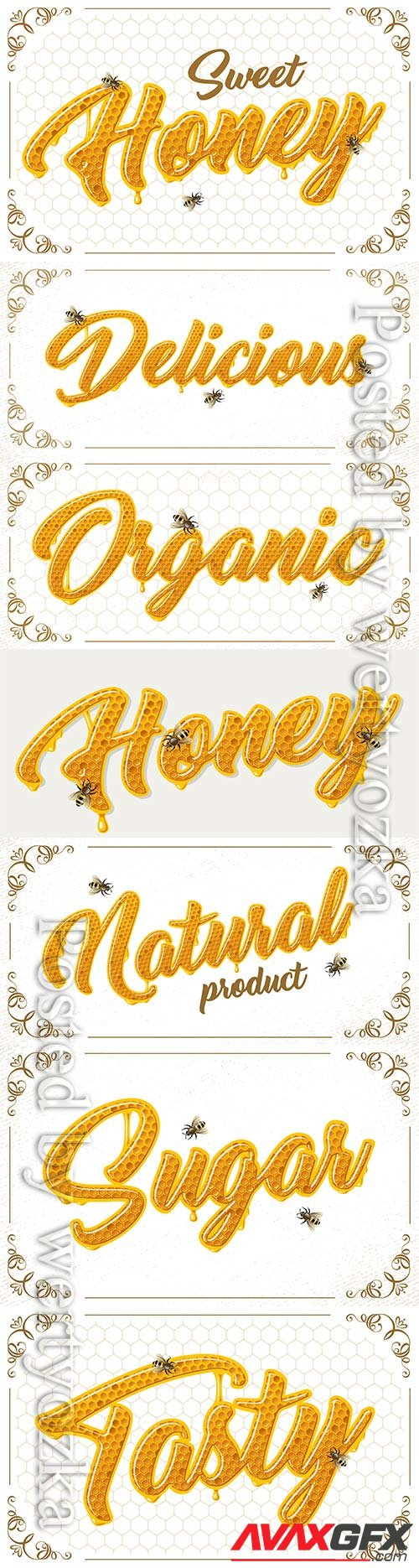 Honey lettering with bees