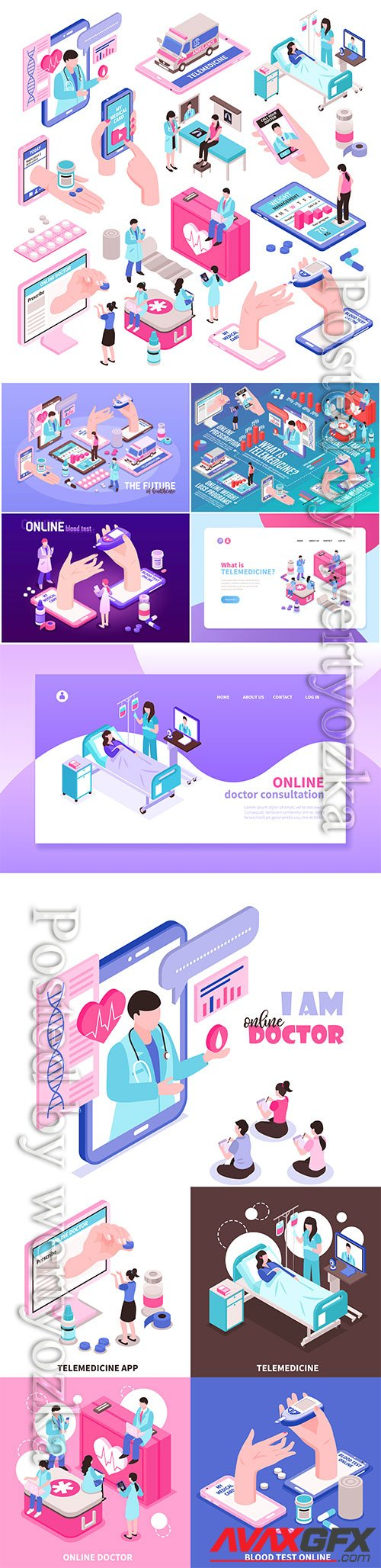 Online medicine and digital health isometric elements vector set