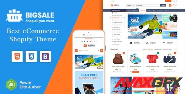 ThemeForest - BigSale v1.0.0 - The Clean, Minimal & Unlimited Bootstrap 4 Shopify Theme (12+ HomePages) (Update: 2 January 20) - 22531159