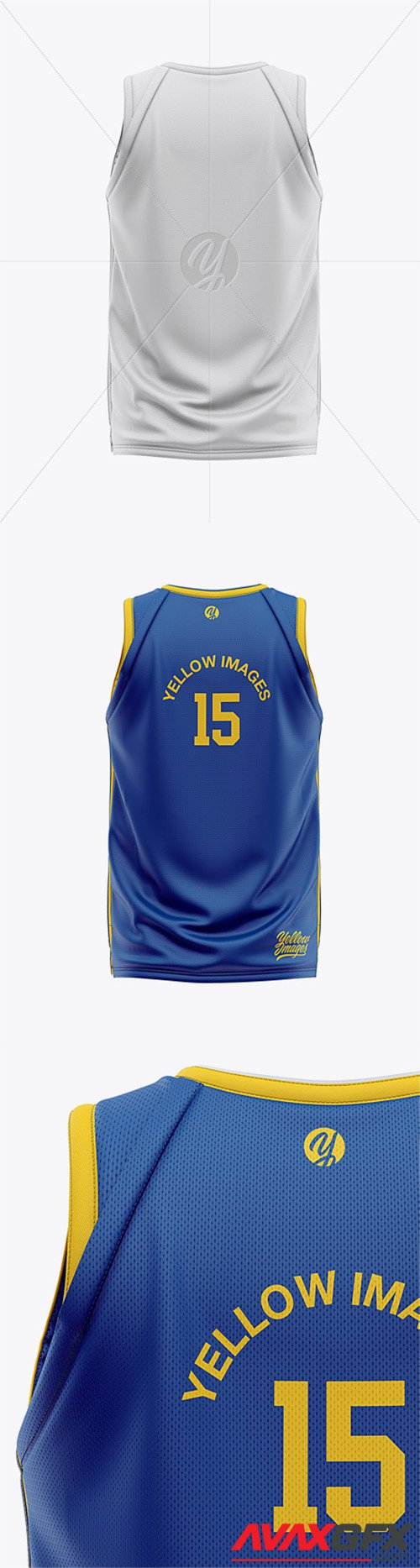 Men's Basketball Jersey Mockup - Back View 33141