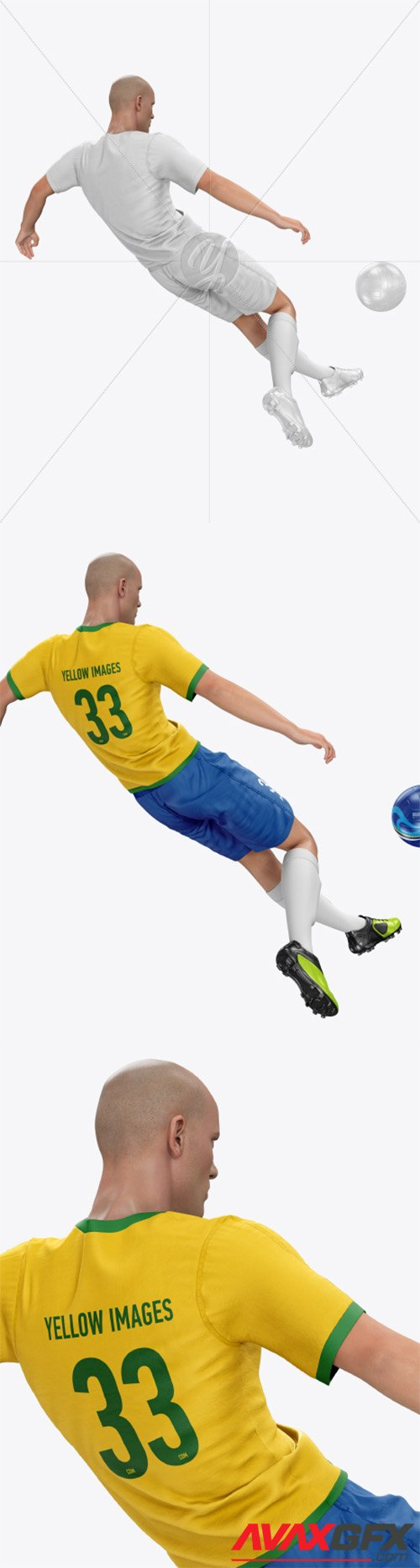 Soccer Player with Ball Mockup 35704