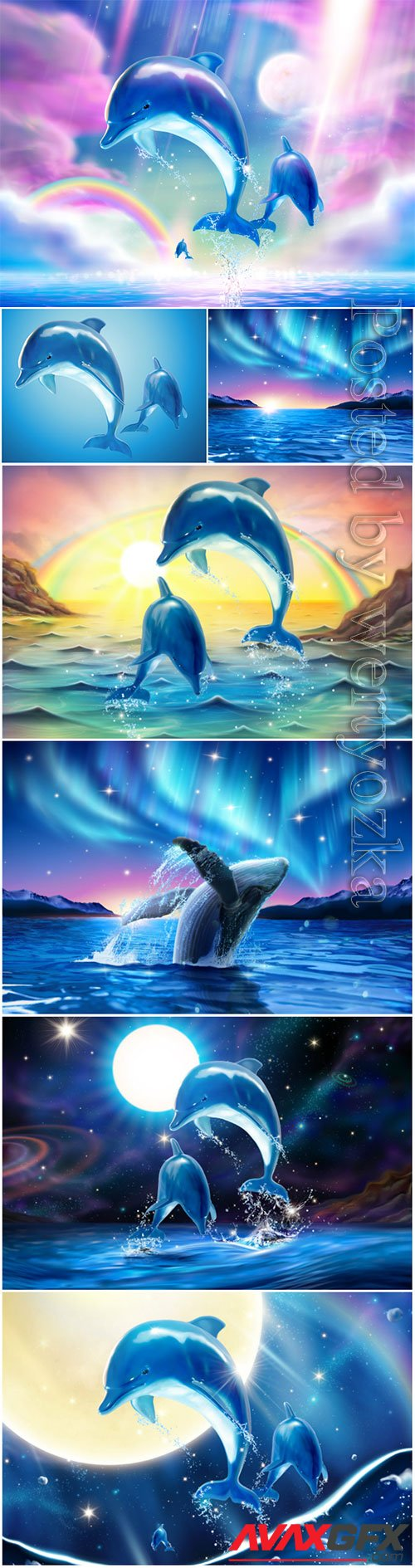 Dolphins in vector, marine landscape