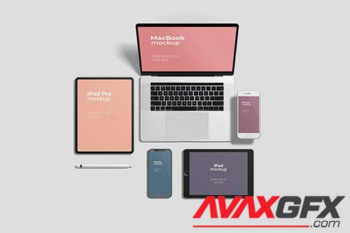 Multi Devices Mockups Top Angle View
