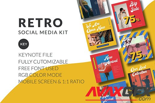 Retro Social Media Kit - Keynote