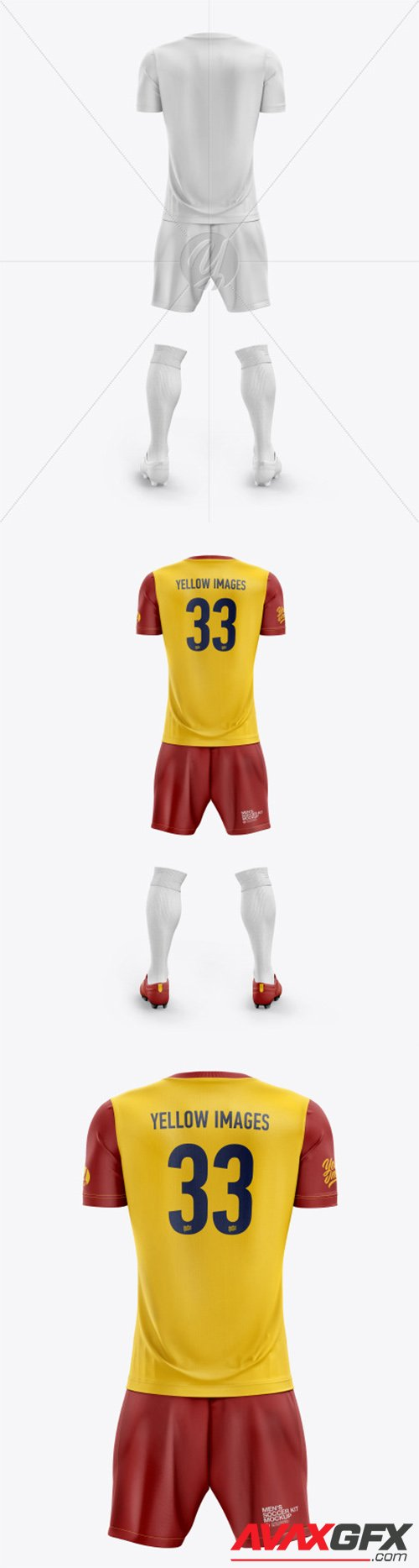 Men's Full Soccer Kit with Crew Neck Jersey mockup (Back View) 55760