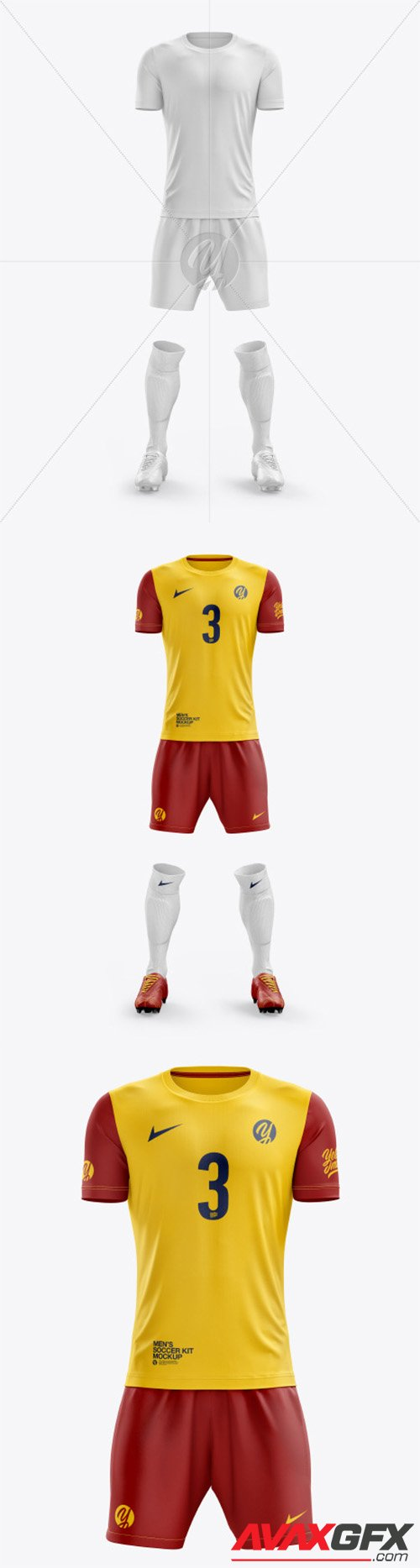 Men's Full Soccer Kit with Crew Neck Jersey mockup (Front View) 55756