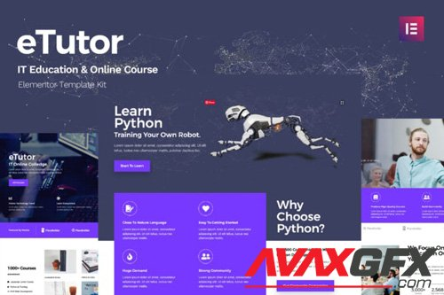 ThemeForest - eTutor v1.0 - Education & Online Course Elementor Template Kit - 26316076