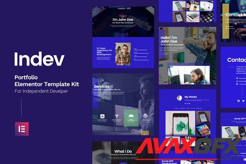 ThemeForest - Indev v1.0 - Portfolio Elementor Template Kit For Developer - 26143449