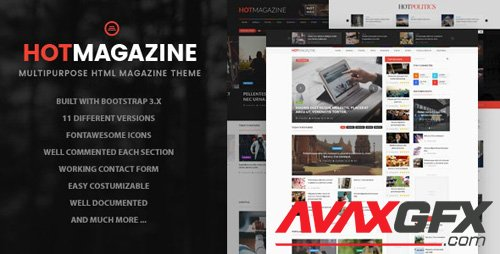 ThemeForest - Hotmagazine v1.0 - News & Magazine HTML Template - 16139988