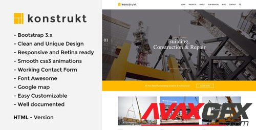 ThemeForest - Konstrukt v1.0 - HTML5 Construction & Building Template - 17016320