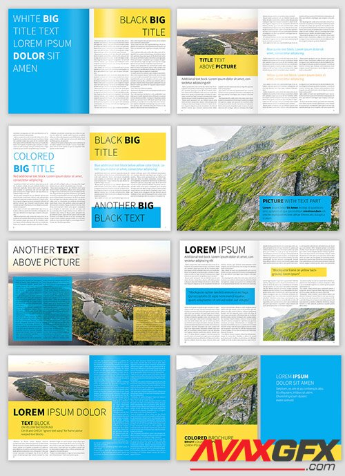 Blue Yellow Accent Brochure Layout 326452542