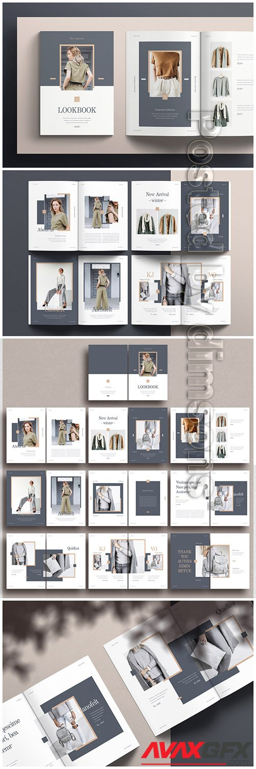 Fashion Lookbook Layout with Gray and Brown Accents 322586573