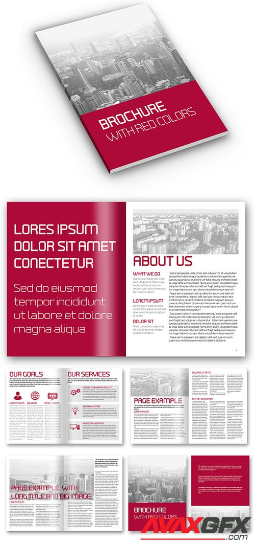 Red Colored Simple Business Brochure Layout 323984450