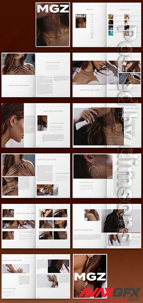 Magazine Layout with Dark Tan Accents 324049478