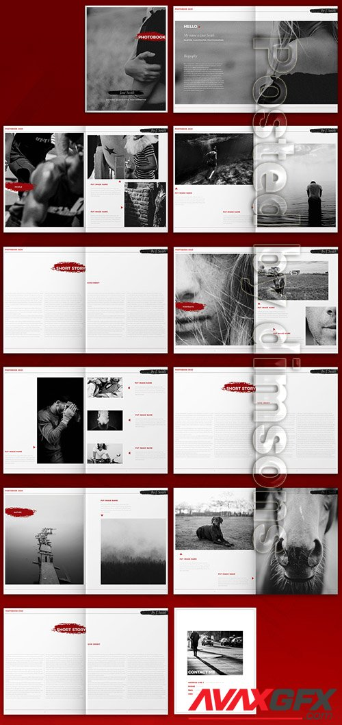Brochure Layout with Red Brush Splatter Elements 324049506