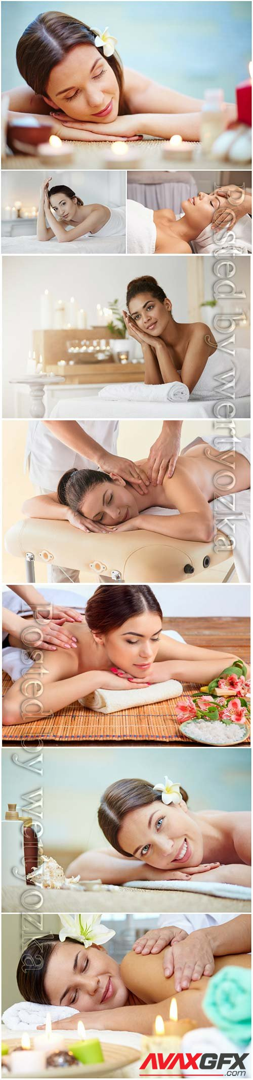 Beautiful girls in the spa salon, massage
