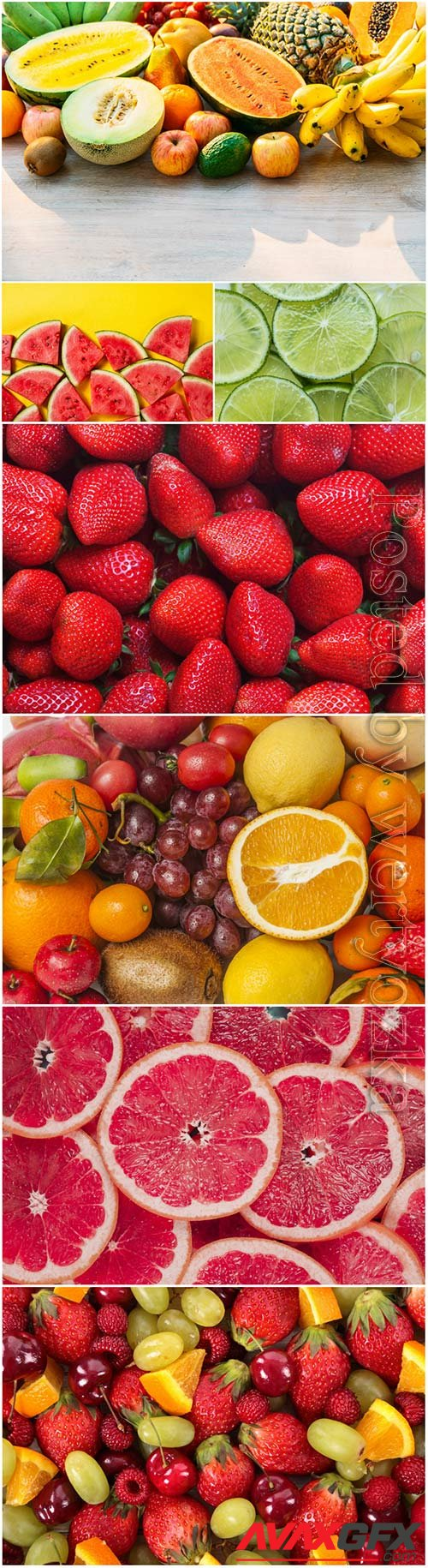 Fresh tasty berries, fruits and citrus stock photo