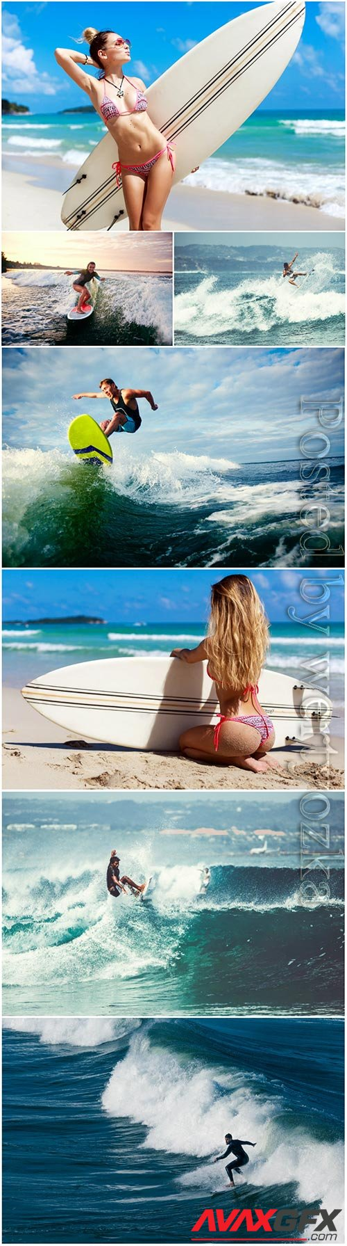 Men and girls are surfing  stock photo