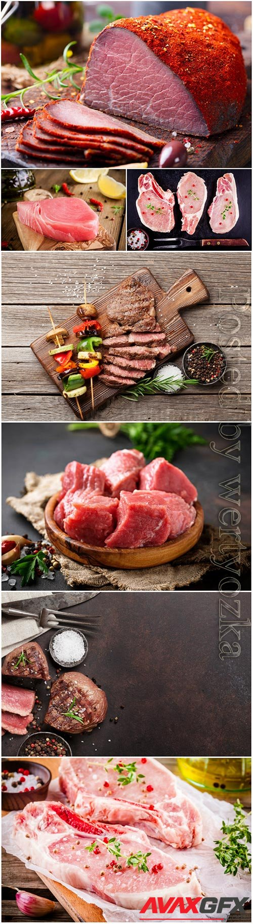 Fresh raw meat, grilled vegetables and beef steak stock photo