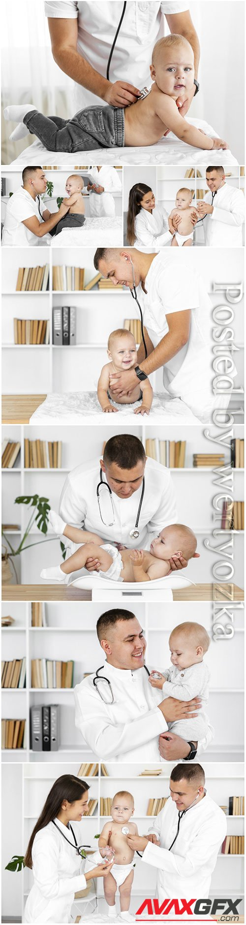 Doctor hands listening little baby stock photo
