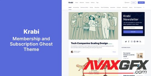 ThemeForest - Krabi v1.0 - Membership and Subscription Ghost Theme - 27643683