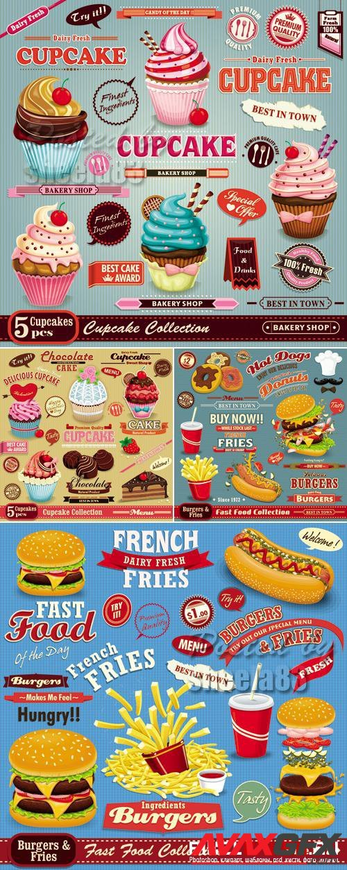 Vintage Style Food Icons Vector