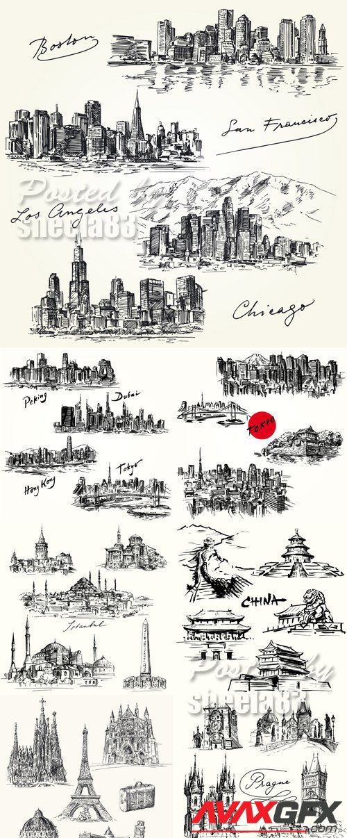 Hand Drawn Cities Icons Vector