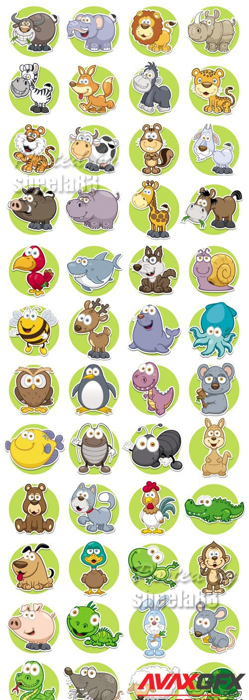 Cute Animals Icons Vector