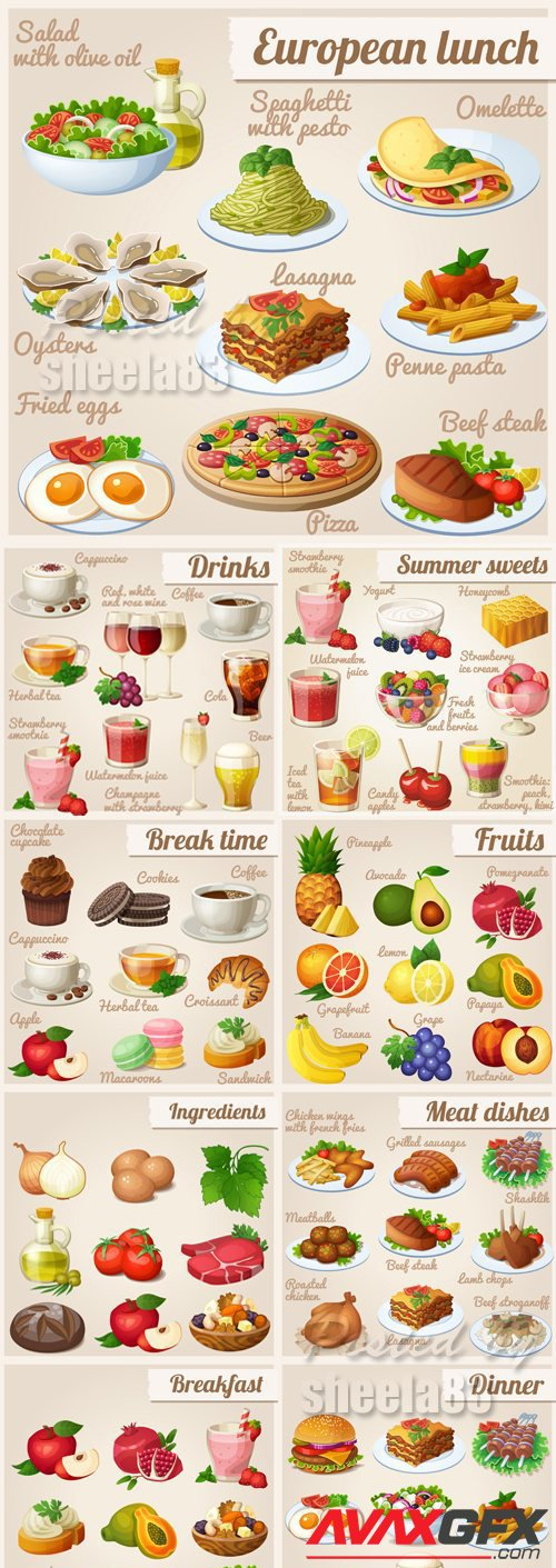 Various Food Icons Vector 2