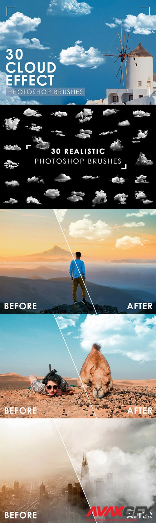 30 Realistic Cloud Photoshop Brushes