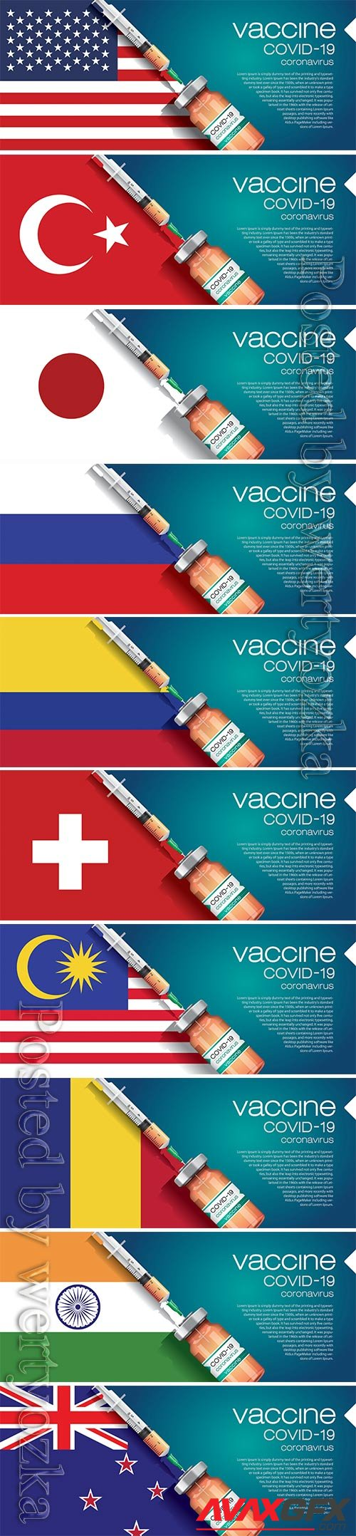 3D corona vaccine illustration and country flag concept