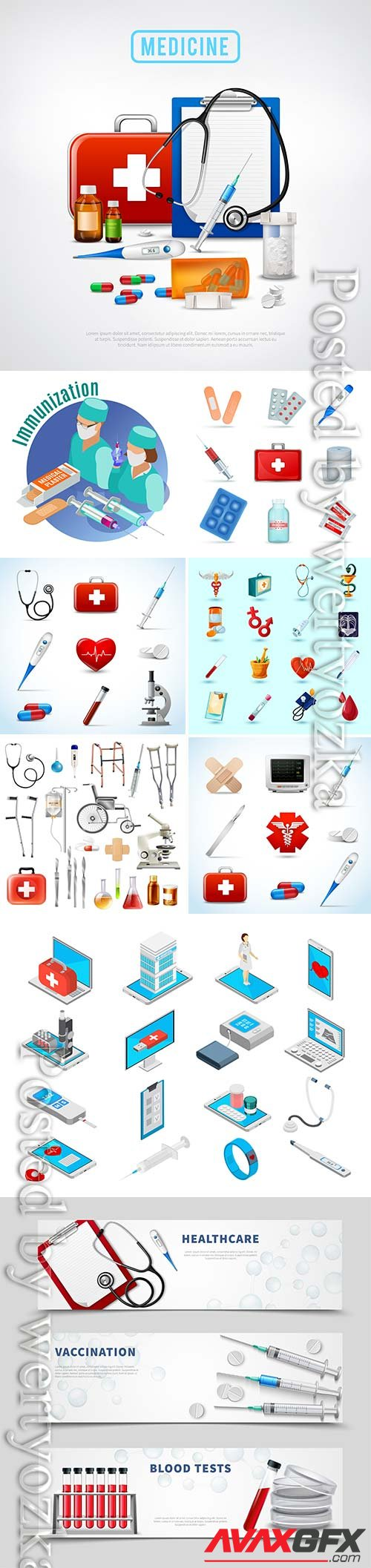 Medicine isometric concept with medical equipment symbols vector illustration