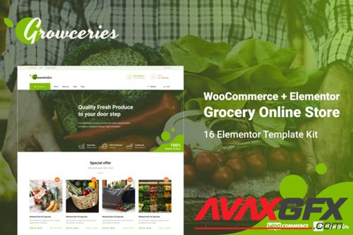 ThemeForest - Growceries v1.0 - Food & Grocery Store Elementor Template Kit - 28453232