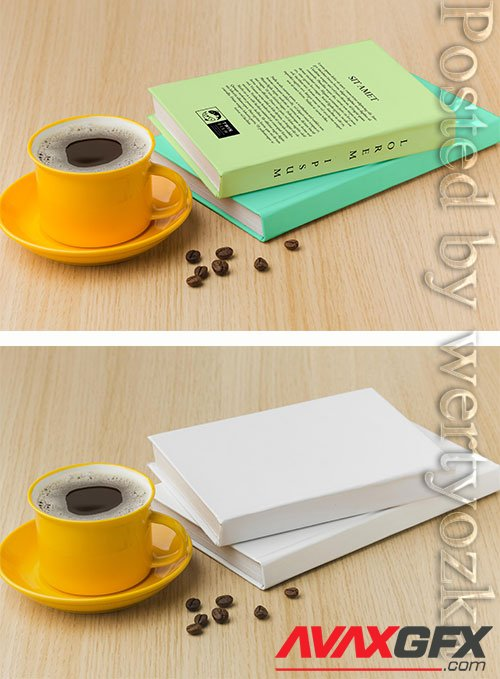 Book cover arrangement on wooden background with cup of coffee