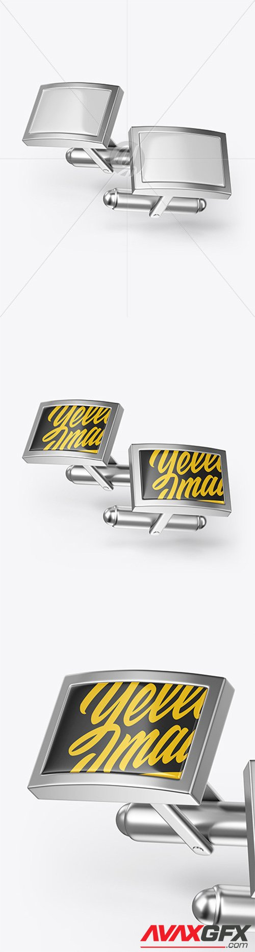 Two Cufflinks with Rectangle Caps Mockup 65303