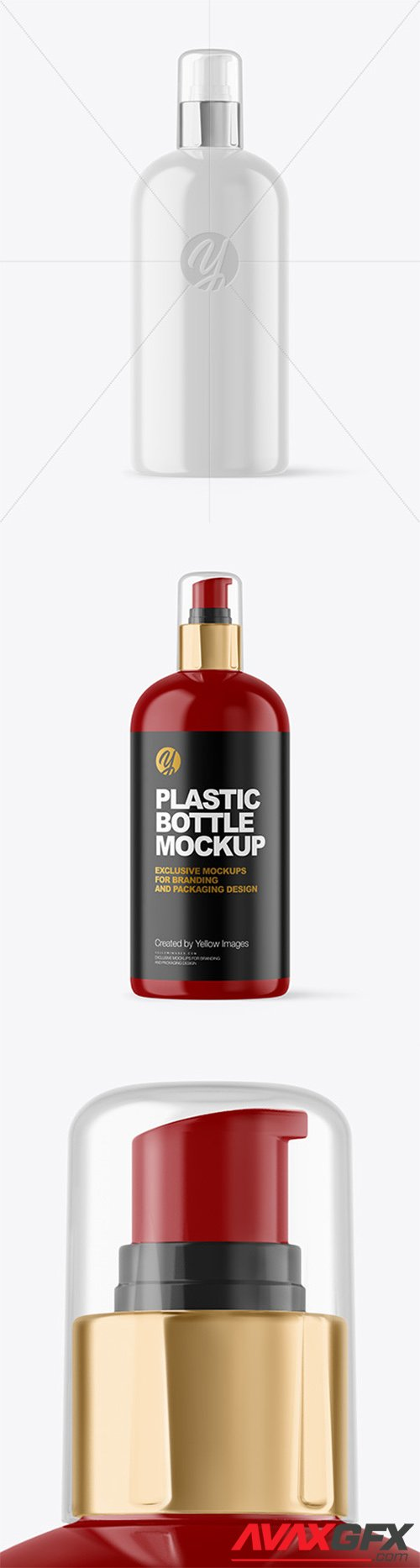Glossy Cosmetic Bottle with Pump Mockup 65666