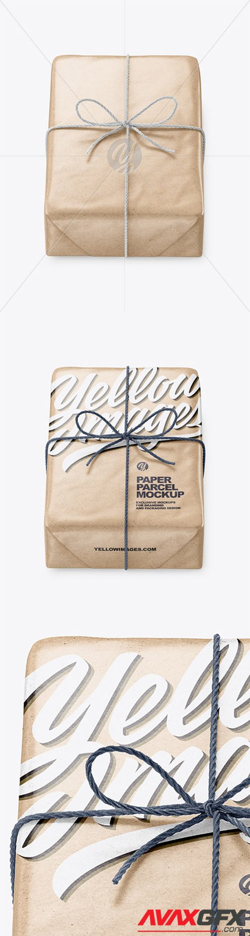 Kraft Paper Parcel With Row Bow Mockup 65625