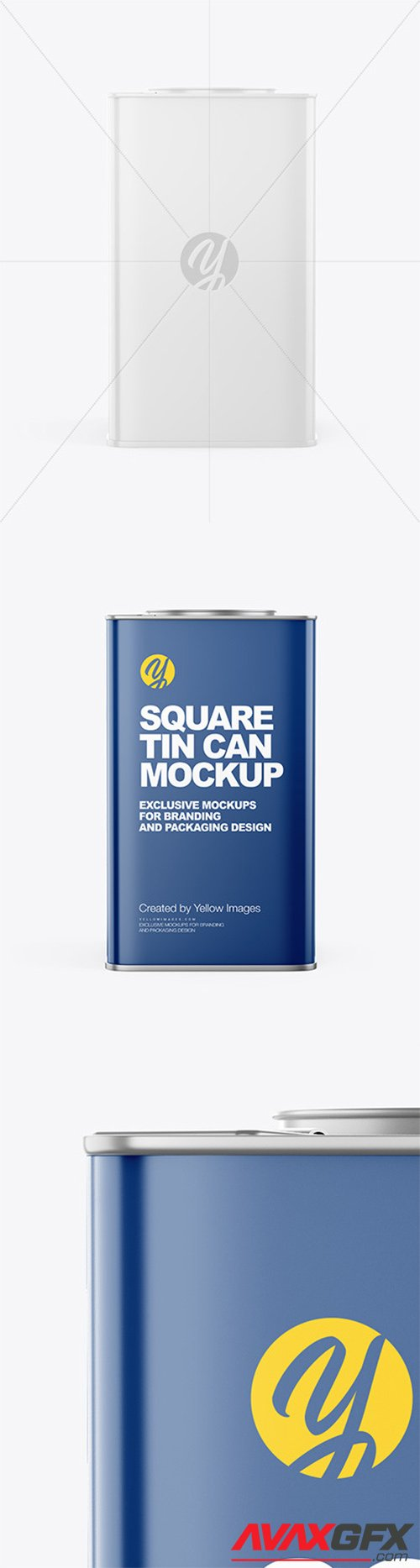 Glossy Square Tin Can Mockup 65339